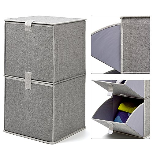 EZOWare 2-Tier Storage Organizer, Collapsible Cube Basket Bins Boxes with Pull Down Opening for Home, Nursery Home, and Office - (Wire Mesh 2 Drawer Cube)