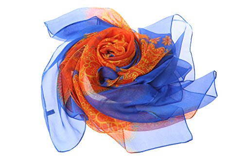 Flower Sciarpa And Donna Blue Orange Pattern Lemonpaier q7xzwCOq