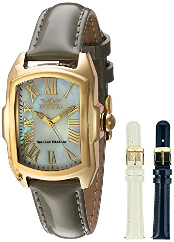 Invicta Women's 'Lupah' Quartz Stainless Steel and Leather Casual Watch, Color:Grey (Model: 20457)