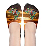 Africa Continent Women's Thin Casual No Show Socks Non Slip Flat Boat Line