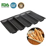 Silicone Baguette Pan - Non-stick Perforated Fench Bread Pan Forms , Hot Dog Molds , Baking Liners Mat Bread Mould (5 Loaf, Black)