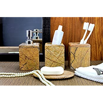 KLEO   Bathroom Accessory Set Made From Natural Brown/Sand Stone   Bath  Accessories Set