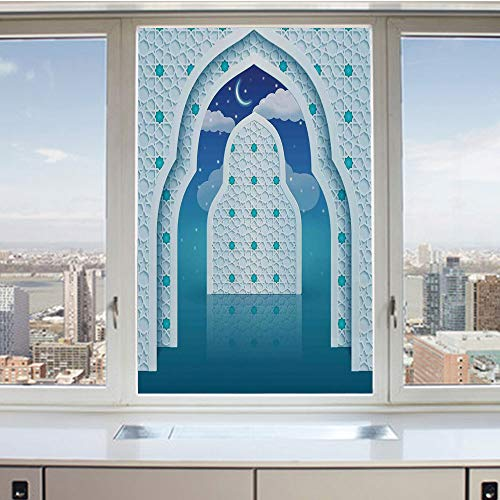 3D Decorative Privacy Window Films,Arabic Quote Textured Mosque Arch Door with Cloudy Star Sky Night Backdrop Print,No-Glue Self Static Cling Glass Film for Home Bedroom Bathroom Kitchen Office 24x36
