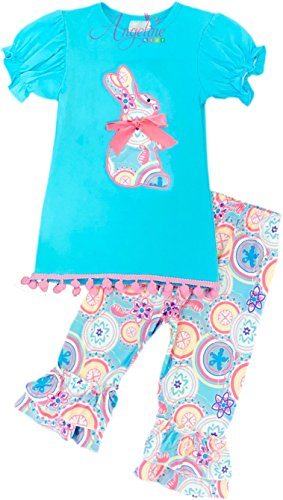 Boutique Clothing Girls Easter Bunny Turquoise Paisley Capri Set - Easter Boutique