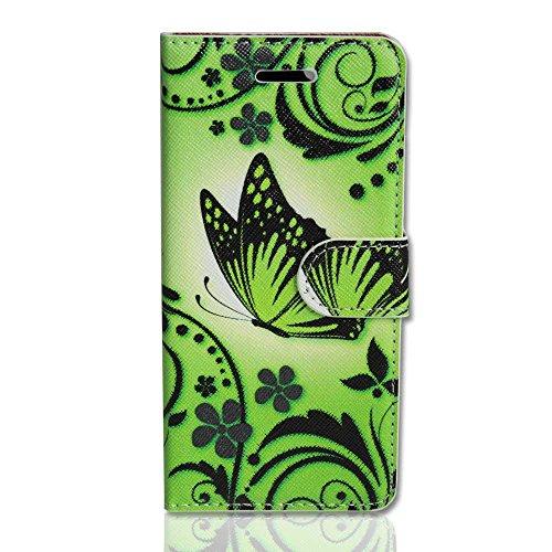 Handy Tasche Case book für Apple iPhone 5 / 5S / Hülle Etui Handytasche Schutzhülle butterfly neongrün