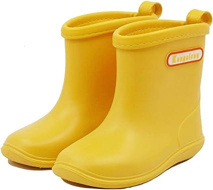 Kids Baby Rubber Rain Boots Boys Girls Waterproof Wellington Water Shoes Yellow