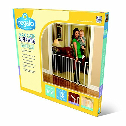 Regalo 59-Inch Super Wide Walk Through Baby Gate, Hardware Mount