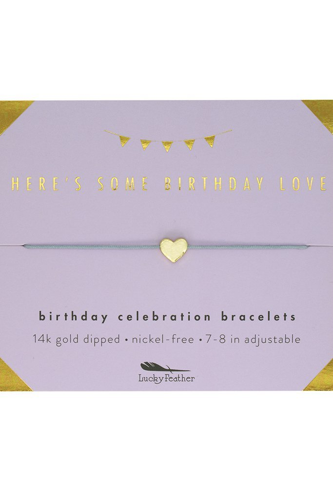 "Lucky Feather Happy Birthday Gifts for Women and Girls - 14K Gold Dipped Love Heart Bracelet for Girls on Adjustable 7""- 8"" Cord"