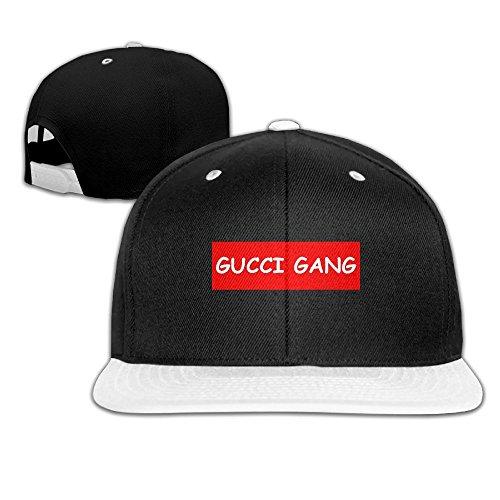 075494bbd KAGN Lil Pump Gucci Gang Logo Unisex Flat Brim Baseball Hats 100% Cotton  Adjustable Hip Hop Caps for Boys Girls
