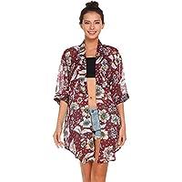 bluetime 3/4Manga Floral de la mujer alta baja Chifón Kimono chaqueta de punto Blusa