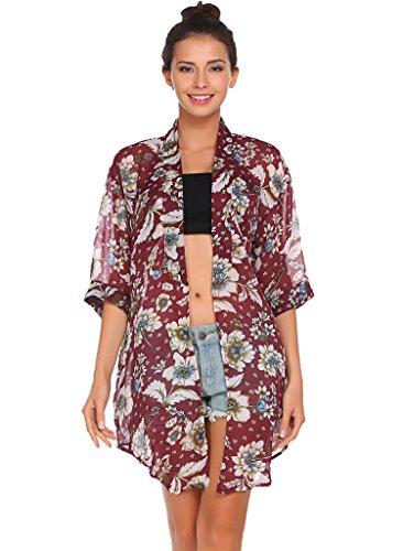 Bluetime Women's 3/4 Sleeve Floral High Low Chiffon Kimono Cardigan Blouse (XXL, Red)