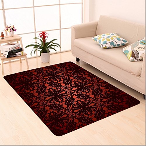 Nalahome Custom carpet and Black Victorian Ancient House Decor Flowers with Leaves Ombre Design Image Ruby and Burgundy area rugs for Living Dining Room Bedroom Hallway Office Carpet (2' X - Leaf Ruby Striped
