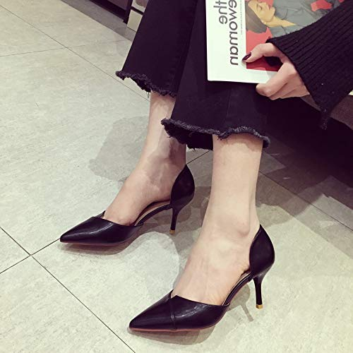 Women'S High Shoes Stiletto Nude Pointed High heels Black Professional Color Heels Shoes Yukun Work Commuting Hollow Bw1XWT
