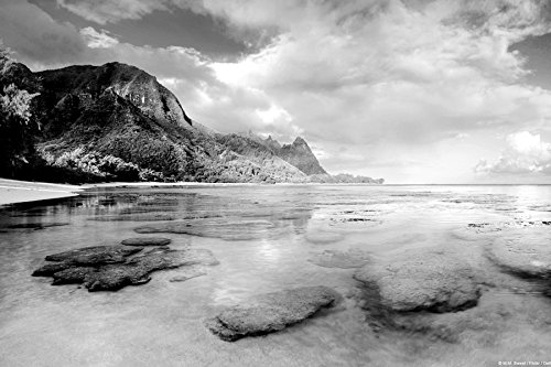 GLITZFAS USA Hawaii Kauai Beach - Art Print On Canvas Rolled Wall Poster Print - Black and White 24