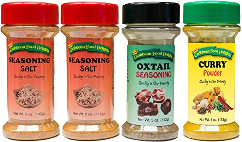 Seasoning Salt, Oxtail Seasoning, Curry Powder - Spices Variety 4 Pack by Caribbean Food Delights