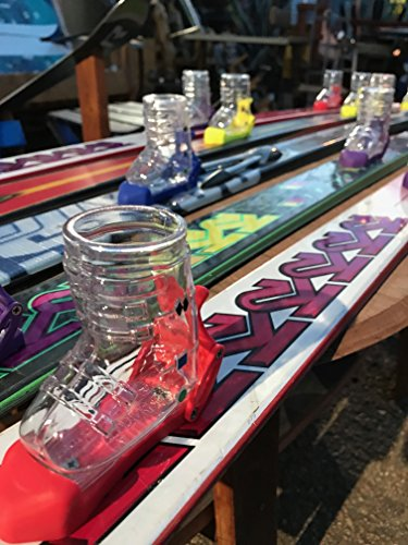 Ultra Premium Shot Ski with bindings and 4 removable Ski Boot Shot glasses by Colorado Ski Furniture