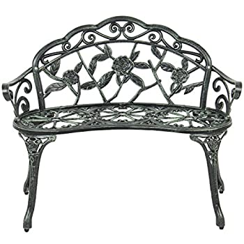 Best Choice Products Floral Rose Accented Metal Garden Patio Bench w/Antique Finish - Black