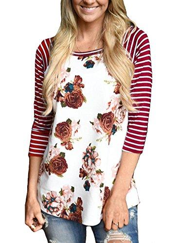 KufvWomens Prints Florals 3/4 Sleeve Crew Neck Top Tshirt (S,