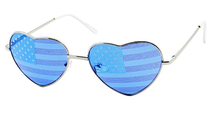 ee3b5e3bb7d Heart Glasses USA Flag Patriotic Festival Miss USA (Flag Lens-Silver Blue