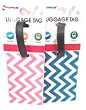 Luggage Tag, 2 pack Chevron blue and pink