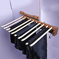 FKhanger Pull Out Cabinet Pants Rack,Scarves Holder Rail with Damper,Trousers Hanger Rail for Wardrobe-10 Pairs (Color : Gold)