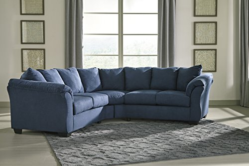 Cheap Darcy Contemporary Blue Color Microfiber Sectional Sofa
