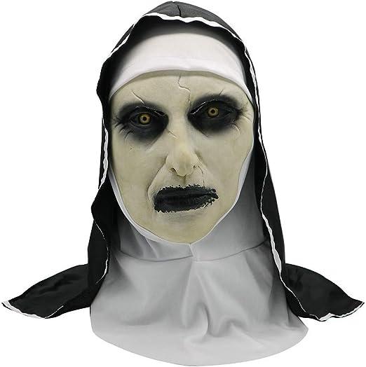 Watopi Máscara de Monja aterradora para Halloween, máscara de ...