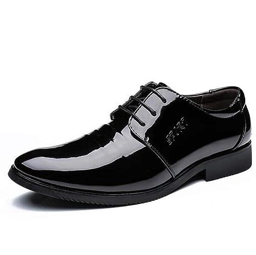 2ab1f9d9656 Zapatos de Vestir Oxford con Cordones para Hombres - Zapatos de Vestir de  Charol - Zapatos de Charol clásicos Casual  Amazon.es  Zapatos y  complementos