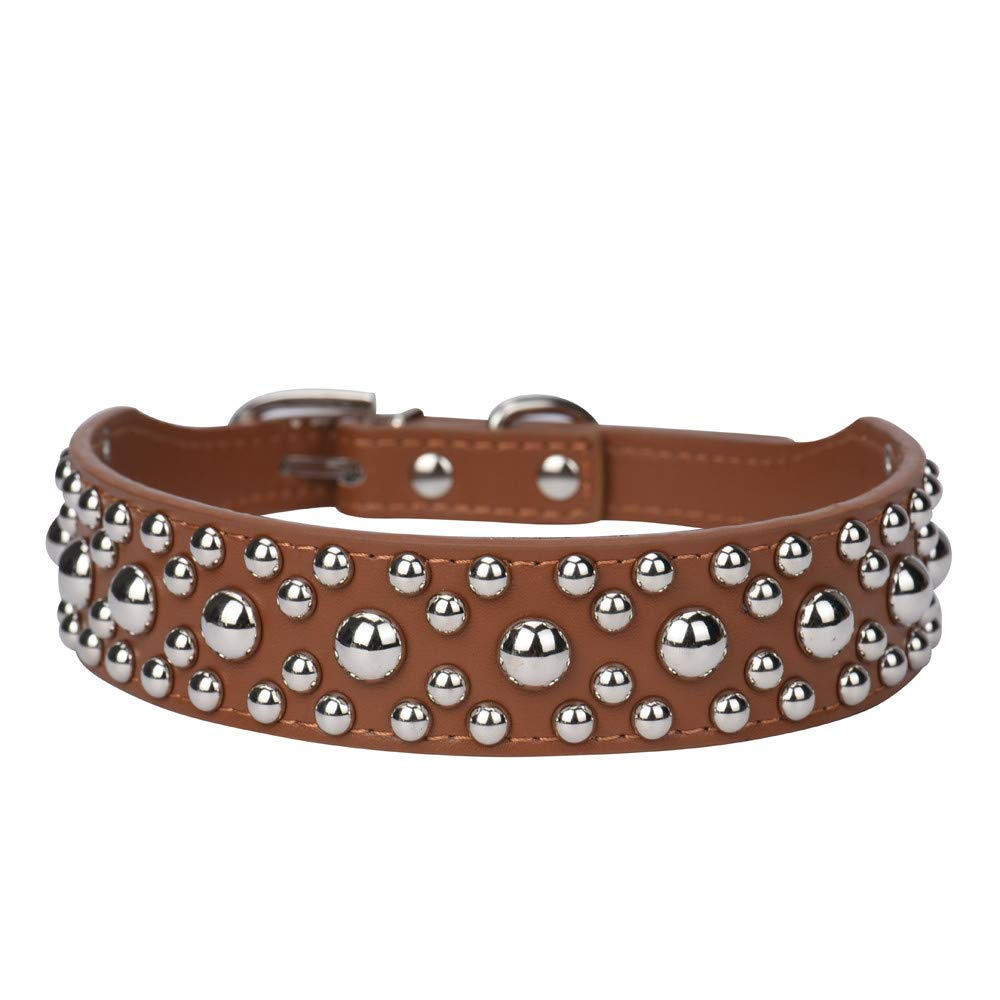 Adjustable Leather Rivet Mushroom Studded Pet Puppy Small Dog Collar Neck Strap Collar Cute Substrate Pet Collar Puppy Choker Cat Necklace Costumes Outdoor Collar Leather Collar Dress Up (Brown, S)