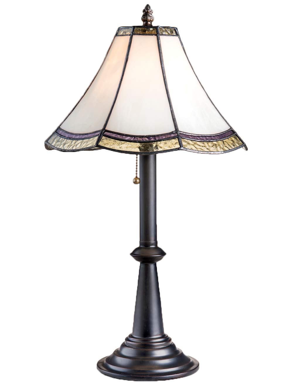 J Devlin Glass Art Lam 597-4 TB Tiffany Stained Glass Table Lamp Curved Ivory Opal with Purple and Green Dresser Bedside Accent Lighting