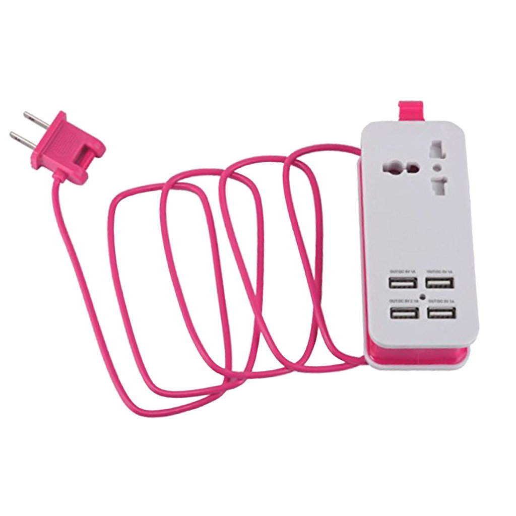 Jili Online Travel Power Strip Surge Protector with 4 Smart USB Charging Ports US Plug Pink