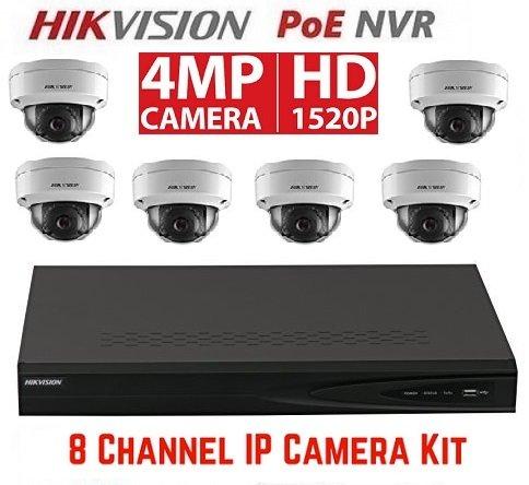 Hikvision DS-7608NI-E2/8P 8CH 8 POE NVR & 6pcs DS-2CD2142FWD-I 2.8mm 4MP POE Dome Camera Kit