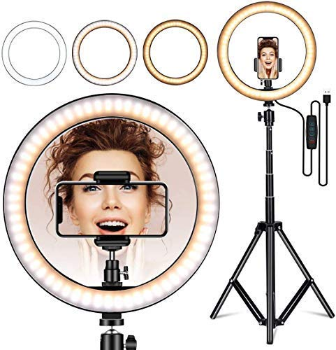 Dave 10 inch Selfie Ring Light with 81″ Extendable Tripod Stand & Flexible Phone Holder for Live Stream/Makeup, Desktop Led Camera Ring Light for YouTube TIK-Tok Video (10 Inch Ring Light)