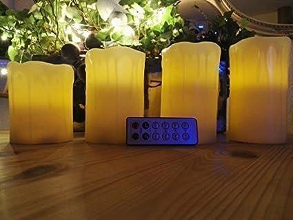 Batteriebetriebene Kerzen Mit Beweglicher Flamme.5er Set Led Kerzen Mit Timer Fernbedienung Mit Beweglicher Flamme 4 Batterie Betriebene Kerzen Wachs Echtwachs Mit Zeitschaltuhr Fernbedienung