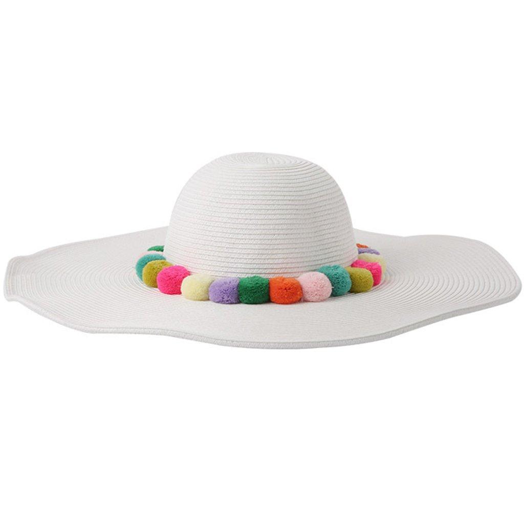 Lukalook Womens Straw Sun Hat - Beach Summer Fluffy Pom Pom Ball Decorated Wide Brim Cap
