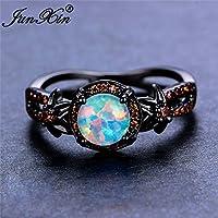 Phetmanee Shop White Fire Opal Star Flower Ruby Ring Black Gold Jewelry Wedding Band Size 6-10 (6)