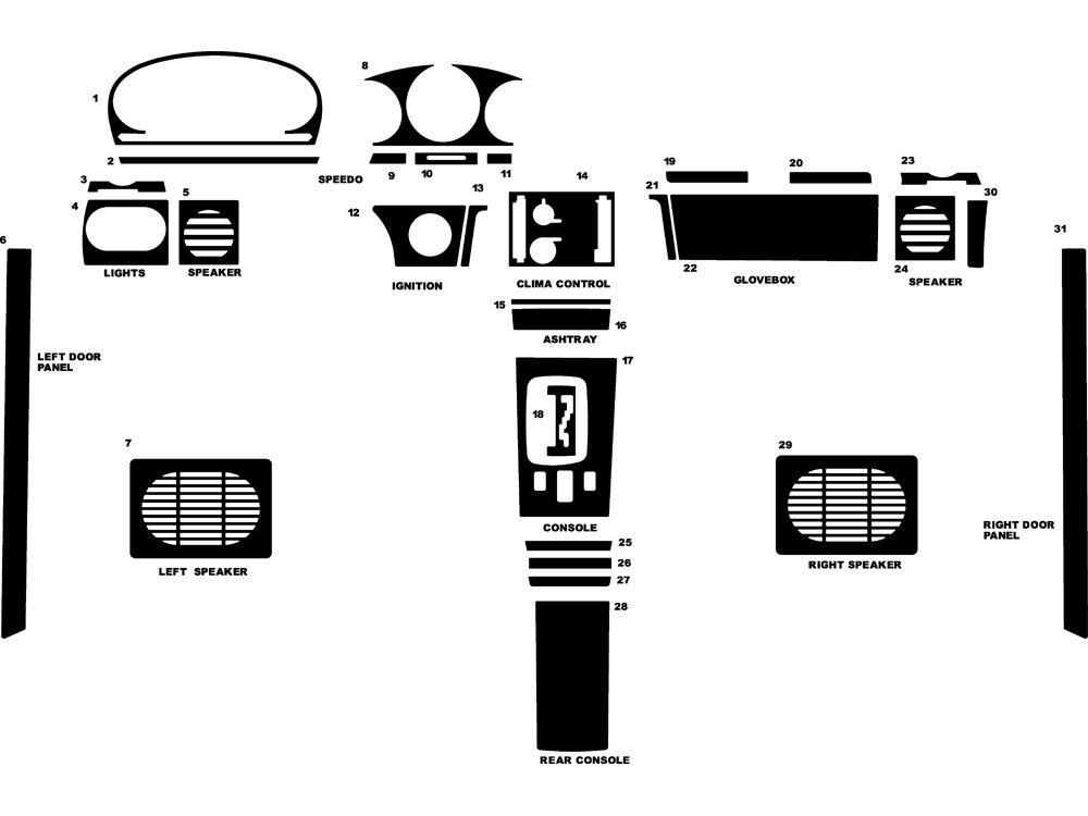 Rdash Dash Kit Decal Trim for Mercedes-Benz 450 1973-1978 - Wood Grain (Zebrano Mahogany)