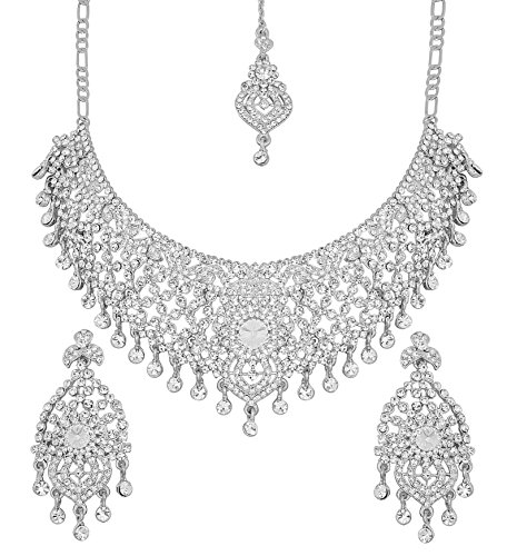 [Touchstone Hollywood Glamour masterly created sparkling Rhinestone grand bridal jewelry necklace set for women in silver] (Bollywood Costume Party)