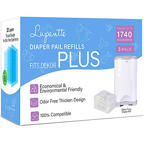 Dekor Plus Diaper Pail Refills Up to 1740 Diapers by Lupantte, 100% Compatible for Dekor Plus Size Diaper Pails, 22 Layers 90% Extra Thicken Design for Odorless Experience, 3 Packs