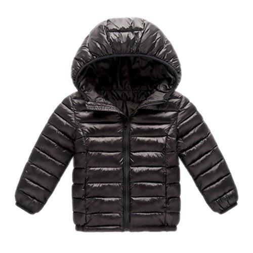 Teenfir Kids Jacket Boys Outerwear Coats Lightweight Down Cotton Clothing Black 13T -
