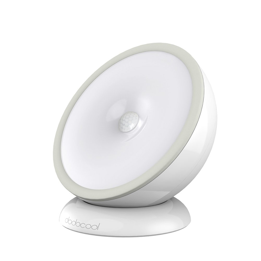 dodocool Luce Notturna 5 LED Movimento Automatico e Luce di Rilevamento 0.5W Alimentato a Batteria o USB Ricaricabile 2 Modalità di Illuminazione con Base Magnetica Staccabile Grigio