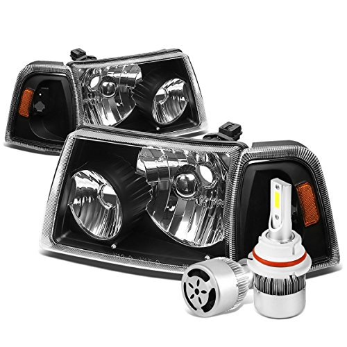 For Ford Ranger 4Pc Black Housing Amber Corner Headlight + Corner Light + 9007 LED Conversion Kit W/Fan