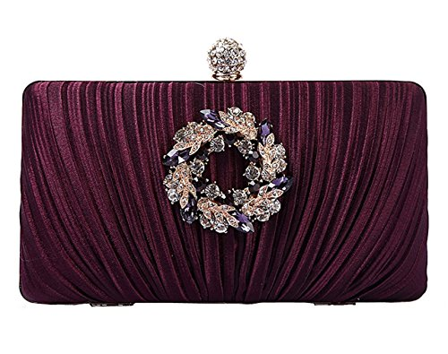 Womens wallet elegant 6 bag wedding Evening HopeEye Satin clutch waistbag purple noble dqdB1a
