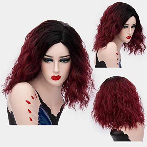 red and black split wig - 8