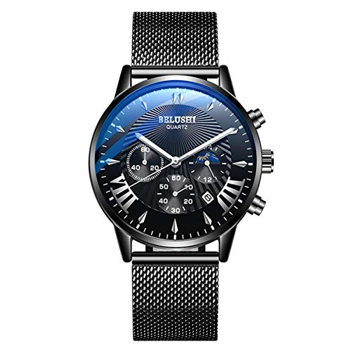 Mens Watch Blue/Black Ultra Thin Wrist Watches for Men Fashion Classic Gift Mesh Waterproof Dress Stainless Steel Band - Black Moon icon