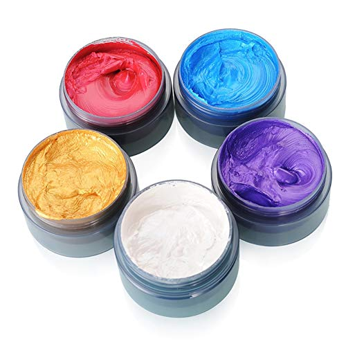Sizet 5PCS Muti-Colors DIY Hair Dye Wax Natural One-Time Hairstyle Clay Unisex Hair Modeling Cream Party Use
