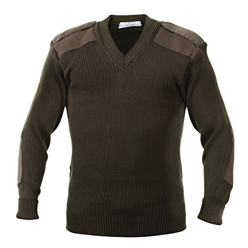 Rothco Acrylic V-Neck Sweater in Olive Drab - Small by Rothco