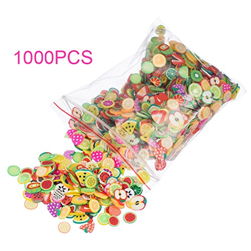 1000pcs/bag Nail Art 3D Fruit Feather Heart Flower Candy Tiny Fimo Slices Polymer Clay DIY Nail Sticker Decoration