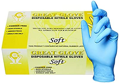 GREAT GLOVE Food Safe Glove, Soft, Nitrile Synthetic Rubber, 4 mil - 4.5 mil, Powder-Free, Textured, General Purpose, Latex Free, Allergy Free
