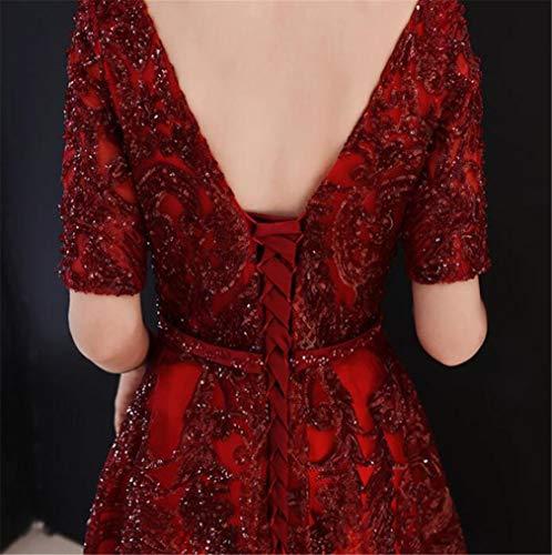 En À Et Col u Profond Sexy Réunion Rouge De Paillettes Élégante Lucky Robe Soirée V Annuelle Avec zaPPw